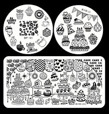 3pcs/set Cake Design Nail Art Stamp Image Plates Stencil Template Kit Manicure