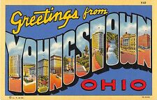 Youngstown Ohio Large Letter Linen Postcard (T126)