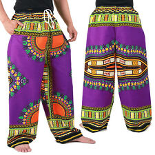 Dashiki African Pants Cotton Aladdin Yoga Harem Unisex BOHO Purple ap01v