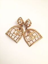 Rare Vintage Chanel Gold Bird Cage Earrings