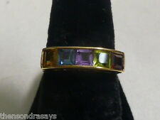 14k Yellow Gold Rainbow Ring * Multi-colored Sapphires * Size 6.5