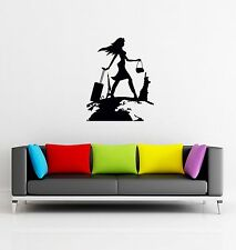 Wall Stickers Girl Travel Vacation Modern Decor for Bedroom z1297