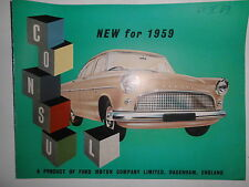 Prospekt Sales Brochure Ford 1959 Consul Technische Daten Specifictaion