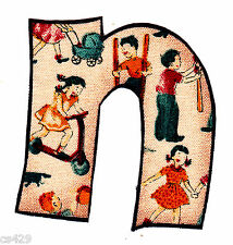"2-3.5"" VINTAGE  ALPHABET  LETTER N NAME MONOGRAM FABRIC APPLIQUE IRON ON"