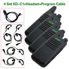 4 Unit WLN KD-C1 5W Walkie Talkie UHF 400-470MHz Two Way Radio+Program Cable FM