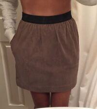 3.1 Phillip Lim Mushroom Taupe Suede Pleated Mini Skirt Elastic Waist 2 $270 NWT
