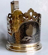 niello Silver 875 tea glass holder USSR Sterling Silver Antique Soviet Gilded