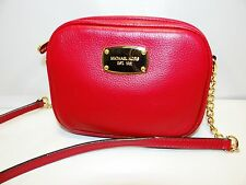 MICHAEL KORS HAMILTON SMALL CROSS BODY RED PEBBLED LEATHER MSRP 158 GIFT READY!