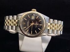 Rolex Datejust Mens 2Tone 14K Gold & Stainless Steel Black Jubilee Bracelet 1601