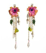 ANTHROPOLOGIE ELEGANT COLOURFUL FLOWER ENAMEL LOOK GOLD TASSEL 4'' DROP EARRINGS