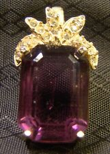 Very Pretty Gold Over Sterling Silver Emerald Cut Purple Amethyst Stone Pendant