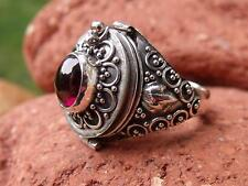 POISON RING 925 SILVER GARNET UK SIZE N 1/2 * U.S 7 SILVERANDSOUL JEWELLERY