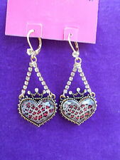 Betsey Johnson Authentic NWT Lovely Leopard Pink Heart Chandelier Earrings