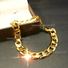 "24K 8.5"" Yellow Gold Filled Men's Jewelry Classic Chain Link Bracelet UK S18-b"