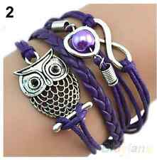 NEW Infinity Owl Pearl Heart Friendship Leather Charm Bracelet Silver Cute