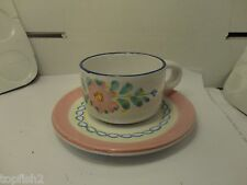 Jennifer Moore Cup & Saucer, Hand Painted, Italy (Used/EUC)