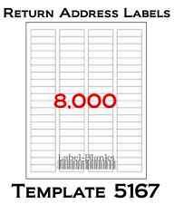 8000 Laser/Ink Jet Labels Return Address Fits Size 5167.100 Sheets 1.75 .5