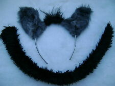 The Lion King Hyena Ears & Tail Set Dress Up Grey Faux Fur Fancy Dress Unisex