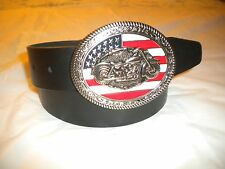 BRAND NEW BIG BUCKLE WITH A MOTORCYCLE AND THE US FLAG LEATHER BELT S-M-L-XL