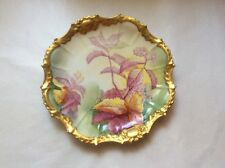 Antique Hand Painted Signed by Artist Limoges Cabinet Plate Gold w Flowers, L332