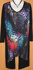 NEW/TAGS JAG Stretch Jersey Print & Black Long Sleeve Asymmetrical Top Size 10