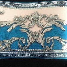 wunderschöne Barock Blau , Türkis.Weiss ,VERSACE 5m lang 17,7 cm breit