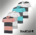 New Mens SoulCal Short Sleeved Striped Polo Shirt Cotton Top Size S M L XL XXL
