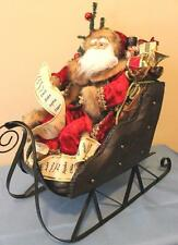 Santa Statue on Sleigh Sled  New Lighted Musical Raz Imports Red Christmas 20""