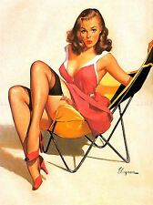 PAINTING PORTRAIT PINUP GIRL RED DRESS STOCKINGS CHAIR HEELS USA POSTER LV2794