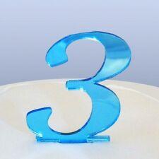 Numero 3 Sceneggiatura Blu Specchio Acrilico Decorazione Torta Circa 6cm-4cm