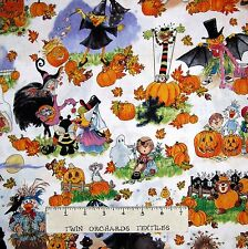 Halloween Fabric - Suzy's Pumpkin Patch Duck & Animals White - Hoffman YARD