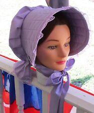Civil War Dress Victorian Accessories Lady'S Lavender Cotton Slat~Sun Bonnet
