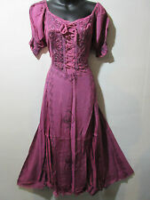 Dress Fits 1X 2X  Plus Pink Renaissance Corset Lace Up Chest Embroidery NWT G100