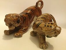 Pair of Vicious Looking Pottery Tigers - Big and Small Tiger Figure / Ornament