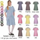 Ages 3 - 20 Girls School Pleated Summer Gingham Dress Sky Blue Purple Green Red