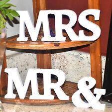 Hot Wooden Mr and Mrs White Letters Home Wedding Decoration Present Gifts