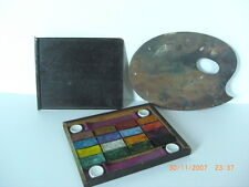 Antique Wooden Water Colour Paint Box Palette Ceramic Mixers Period Piece Small