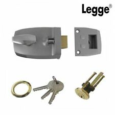 LEGGE 60mm DEADLOCKING SILVER NIGHTLATCH NIGHT LATCH & BRASS CYLINDER - 707PB/SV