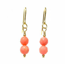 9ct Gold Earrings Genuine Semi-precious Faceted Pink Coral Gemstone Beads
