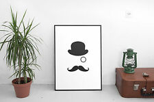 Funny  Poster Print Picture Wall Art Top Hat Monocle Mustache