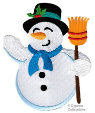 CHRISTMAS SNOWMAN EMBROIDERED PATCH SNOW MAN iron-on applique HOLIDAY DECORATION