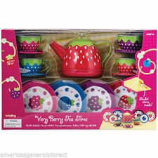 15-pc children VERY BERRY TEA TIME SET pot plate saucer cup TIN Schylling party