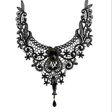 Lady Black Lace& Beads Choker Victorian Steampunk Style Gothic Collar Necklace