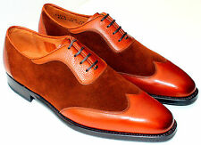 UK9.5/US10.5/EU43.5 J Fitzpatrick Rainier III Wingtip Oxfords, Brown Calf/Suede