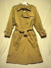 London Fog Three Season Trench Rain Coat Double Breasted Khaki Tan Zip Liner 4P