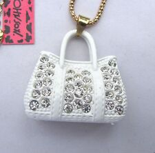 Betsey Johnson bright Crystal clear white enamel Bags pendant Necklace#512L,W