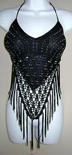 SEXY CROCHET BOHO FRINGE HALTER STRIPPER KNIT SUMMER EXOTIC BIKER MOTORCYCLE TOP