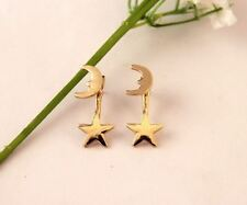 PAIR ear jacket earrings MOON and STAR Bling piercing stud jewelry gold tone