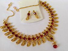 South IndianTraditional Jewellery gold red stone design necklace set &earring
