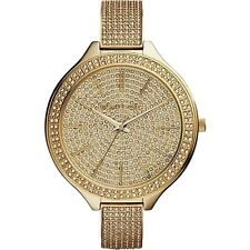 NEW MICHAEL KORS LADIES WATCH MK3256 - PAVE CRYSTAL GOLD TONE SLIM RUNWAY